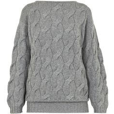AV by Adriana Voloshchuk - Oversized Knitted Jumper In Grey ($280) ❤ liked on Polyvore featuring tops, sweaters, gray top, jumper top, grey sweater, grey top and grey jumper