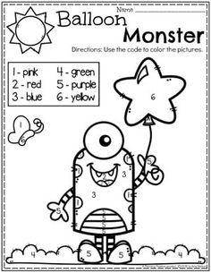 Preschool Math Worksheets - Monster Dot to Dot Coloring Page Preschool Themes, Preschool Learning, Kindergarten Worksheets, Early Learning, Learning Spanish, Color Activities, Learning Activities, Kindergarten Coloring Pages, Preschool Weather
