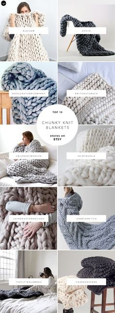 10 best sources for chunky knit blankets on Etsy                                                                                                                                                                                 More