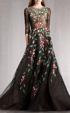 Embellished Floral Gown by Georges Hobeika