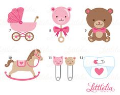 Baby girl clipart baby clipart 15018 by LittleLiaGraphic on Etsy
