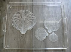 Vtg Lucite Tray with Handles Seashell Design Large Size Barware Serving Beach