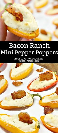 sweet mini bell pepper, stuffed with ranch spiked cream cheese and topped with a bite of crispy bacon! A sweet mini bell pepper, stuffed with ranch spiked cream cheese then topped with a bite of crispy bacon! Cream Cheese Stuffed Peppers, Stuffed Mini Peppers, Mini Paprika, Low Carb Recipes, Cooking Recipes, Sweets Recipes, Pepper Poppers, Mini Sweet Peppers, Best Appetizers