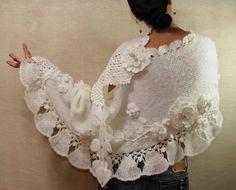 White Wedding Bridal Shawl WrapHand Knit Crochet by lilithist, $345.00