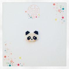 Kiefern Panda in Perlen Miyuki Delica schwarz / weiß