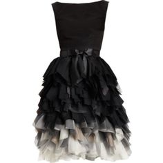 Oscar de la Renta Silk Feathered Skirt Dress ❤ liked on Polyvore featuring dresses, frilly dress, layered dress, silk dress, flutter-sleeve dress and flounce dress