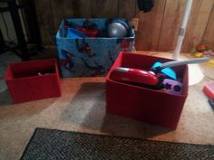 DIY Toy Boxes - used old sheets to cover cardboard boxes used a jot glue gun