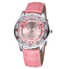EX Women Fashion Rhinestone Case Quartz Movement PU Leather Wrist Watch(Pink)