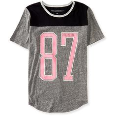 Aero 87 Football Tee ($8) ❤ liked on Polyvore featuring tops, t-shirts, shirts, blusas, med heather grey, relax t shirt, oversized shirt, neon tees, fluorescent t shirts and neon party shirts