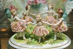 Muller Irish Dresden Lace Volkstedt Germany Ring Around the Rosy Five Little Girls Blue MZ Crown Mark Antique German Porcelain Multi Subject