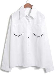 Blusa suelta solapa pestaña-blanco