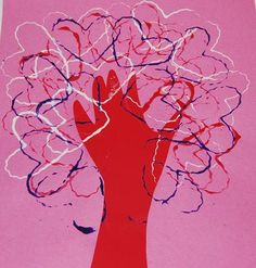 "another version of ""Tree of Love"" Craft for Valentine's Day could do this with my cookie cutters"