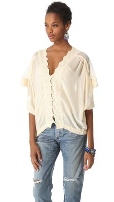 Love Sam Mesh and Lace Button Front Blouse at @Shopbop