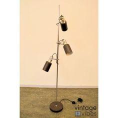 Vintage vloerlamp met 3 spots