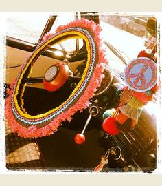 Hippie Highway. . . GREY AND PINK STEERING WHEEL Cover.. . rickrack and lots o FriNGeeeee - Junk GYpSy co.