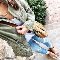 IG @mrscasual <click through to shop this outfit> BP cotton canvas Olive Anorak