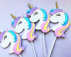 Unicornio Cup Cake toppers/unicornio decoraciones de cumpleaños, la torta de unicornio
