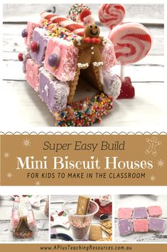 Our mini gingerbread houses are super EASY for kids to make! No baking, rolling and NO TEARS with our no bake Gingerbread House Activities For Kids! Christmas Recipes For Kids, Christmas Cooking, Christmas Printables, Holiday Ideas, Cardboard Gingerbread House, Christmas Gingerbread, Christmas Treats, Mini Cookies, Sweet Cookies