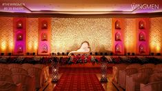 This stunning flower wall in combination with the beautiful display of diyas makes for a grand stage backdrop. Venue decor by The Wingmen Events Wedding Mandap, Wedding Backdrops, Wedding Reception, Wedding Ideas, Marriage Decoration, Wedding Stage Decorations, Flower Decorations, Half Saree Function, Pastel Decor