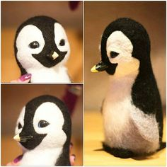 Cute Needle felting felted wool penguin (Via @artfromsib)