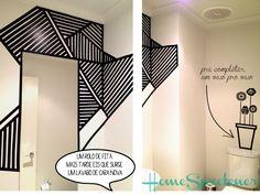 Blog Achados de Decoração: DECORAÇÃO COM FAÇA VOCÊ MESMA usando WASHI TAPE Masking Tape Art, Tape Wall Art, Washi Tape Wall, Diy Wall Art, Diy Wall Decor, Home Decor, Washi Tapes, Big Blank Wall, Creative Home