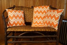 Bright Chevron Throw Blanket with matching double-sided pillow covers. Loomed with American-grown, spun, and dyed cotton.