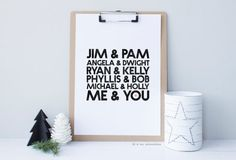 The Office Print - Christmas Gift - Jim and Pam - Cute Home Decor - Aparment Decor - Office Decor - Jim and Pam Poster, The Office US, Love