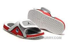 d7e01182a37103 2017 Mens Jordan Hydro 13 Slide Sandals White Black True Red Cement Grey  Authentic 7yysN
