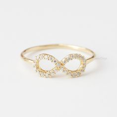 US Size 6.5 Simple Crystals INFINITY Ring In
