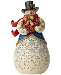 Jim Shore Snowman with Poinsettias Collectible Figurine - Holiday Lane - Macy's