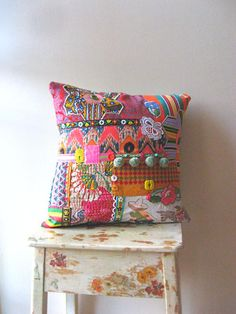 RESERVED Mexicano, Pillow Cover, Rainbow, Tropical, Home Decor. $95.00, via Etsy.