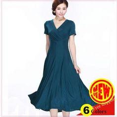New Arrival High Quality Milk Silk Ladies  Elegant V Neck Short Sleeve Slim  Mid Calf Long Plus Size Dress Floral Dresses Beautiful Dresses From Bida  Jany 2570c7ccddf4