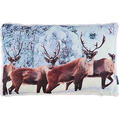 White Glitter Stag Cushion 30x50cm