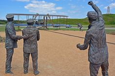 Our picks for the top 10 activities in Kitty Hawk and Kill Devil Hills, North Carolina Kitty Hawk North Carolina, Outer Banks North Carolina, Art Sculpture, Bronze Sculpture, Wright Brothers, Thing 1, Vacation Spots, Vacation Travel, Vacations