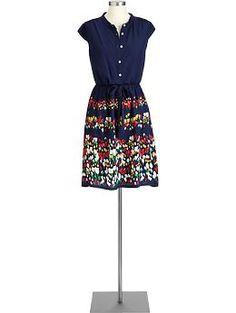 Women's Printed Tie-Waist Dresses