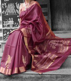Elegant & Fine Tussar Silk Saree with woven zari & geecha patterns