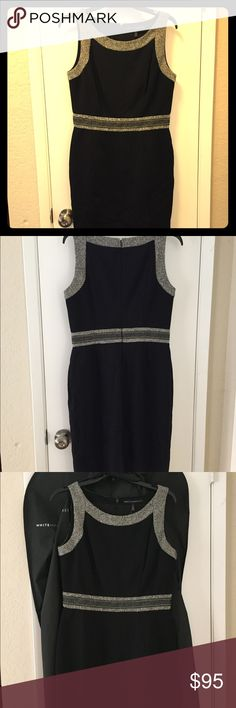 NWT White House Black Market dress size 8 Brand new with tags, black dress from White House Black Market. Ladies size 8; excellent condition. Features tweed detailing at the neckline and waist. Great wardrobe staple and work-appropriate dress for business professionals. I will include the garment bag with the dress purchase. Comes from a pet and smoke free home. White House Black Market Dresses