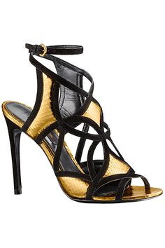 Louis Vuitton Gold & Black Cut-Out Ankle-Strap Sandals Cruise 2014 #LV #Shoes #Heels