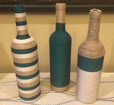 Items similar to Decorated Wine Bottle Centerpiece Champagne, Ivory & Pearl Jewels. on Etsy Wrapped Wine Bottles, Empty Wine Bottles, Recycled Wine Bottles, Wine Bottle Art, Painted Wine Bottles, Diy Bottle, Bottles And Jars, Decorate Wine Bottles, Twine Wine Bottles
