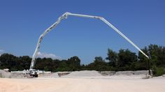 The Putzmeister M 70-5, the world's largest concrete pump, with a 70m span and a weight of 190,000 pounds.