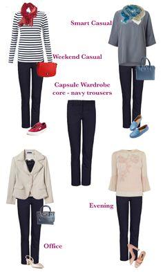 capsule wardrobe basic, navy trousers four ways