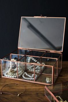 Copper & Glass Sectioned Storage Box