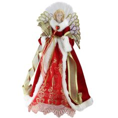 "16"" Lighted B/O Fiber Optic Angel in Garnet Red Coat with Harp Christmas Tree Topper"