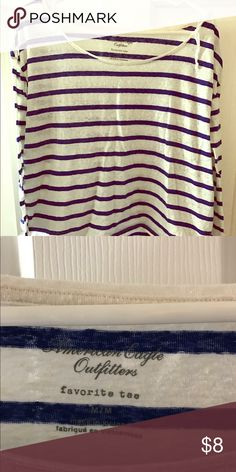 American eagle T-shirt Royal blue striped wide neck favorite T American Eagle Outfitters Tops Tees - Long Sleeve