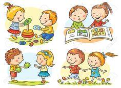 Набор из четырех иллюстраций мультфильма с связи и совместной деятельности…