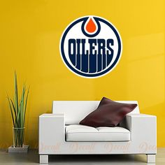 Shop repositionable hockey style wall stickers to add inspiration to your game room. Sports Wall, Sports Logo, Wall Stickers, Wall Decals, Ice Hockey Teams, Edmonton Oilers, Medium Art, Logos, Shopping