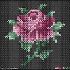 Knitting Pattern of the Rose (drawing) - Knitting Crochet Fair Isle Knitting Patterns, Knitting Charts, Knitting Stitches, Knitting Designs, Cross Stitching, Cross Stitch Embroidery, Embroidery Patterns, Machine Embroidery, Cross Stitch Rose