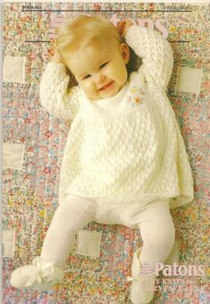 Album Archive - Patons - 851 - Baby Knits in Fairytale Baby Cardigan Knitting Pattern Free, Baby Knitting Patterns, Baby Patterns, Sweater Patterns, Knitting Ideas, Knitting Projects, Knit Baby Dress, Knitted Baby Clothes, Baby Knits