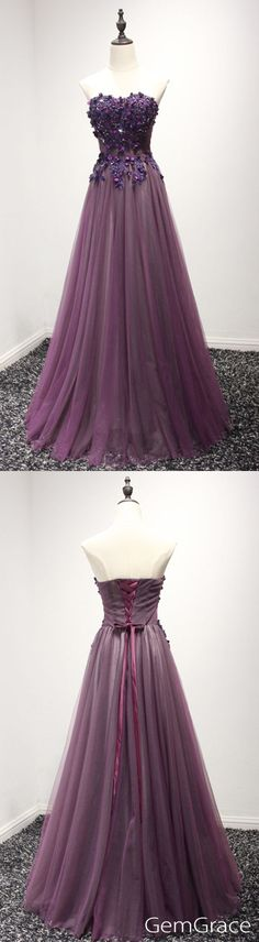 purple long tulle prom dress with flowers