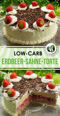 Die Erdbeer-Sahne-Torte ist eine leckere low-carb Variante. Das Rezept ist nicht nur kohlenhydratarm sondern auch glutenfrei.